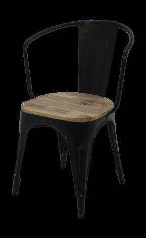Chaise café industrielle - bois de manguier / fer