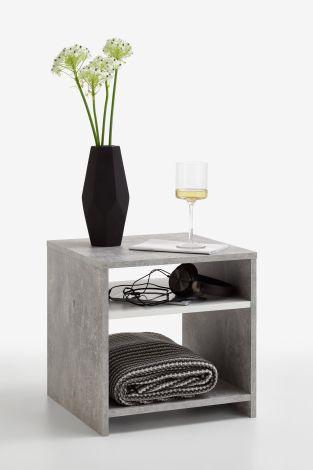 Table d'appoint Linn - béton/blanc