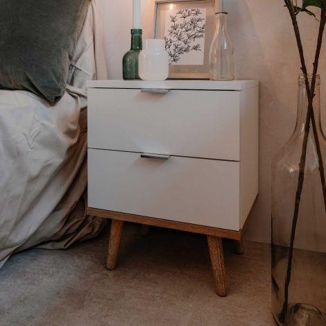 Table de chevet Göteborg 40cm 2 tiroirs - blanc