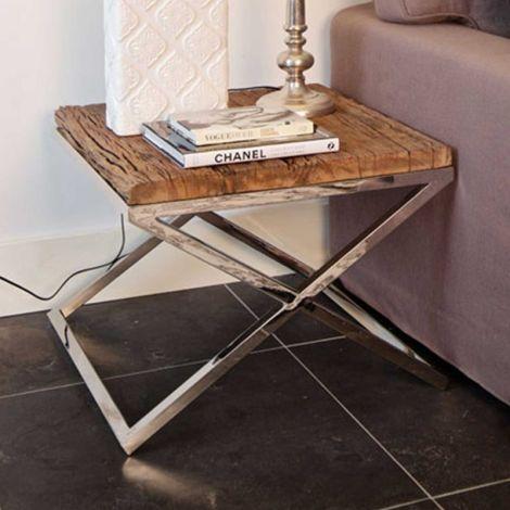 Table d'appoint Kensington 60x60cm - brun/argent