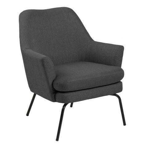 Fauteuil Sari tissu - gris foncé/noir