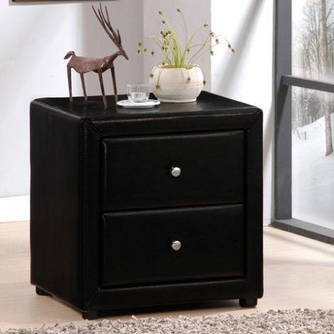 Table de chevet Olympia similicuir - noir