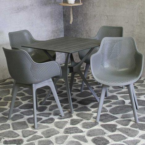 Table de jardin Jelle 80x80 - gris