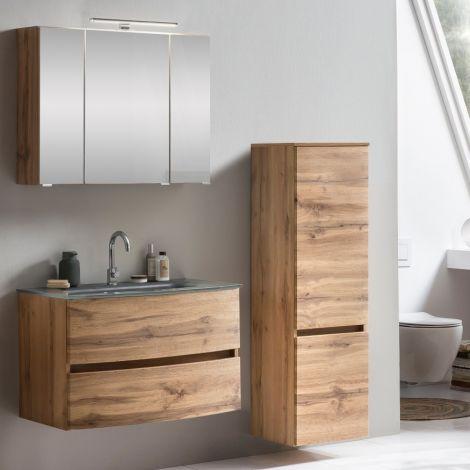 Ensemble salle de bains Kornel 4 à 3 pièces avec vasque grise - chêne