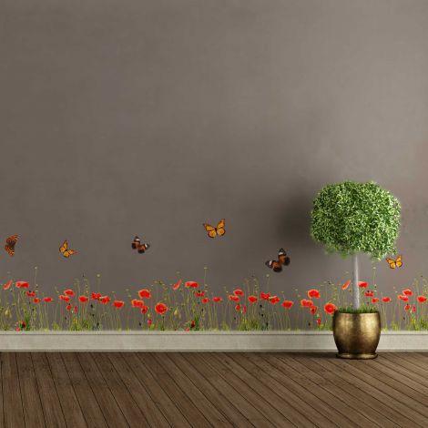 Sticker mural Poppies & Butterflies - bannière