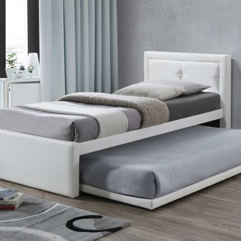 Lit Rodan avec tiroir de lit similicuir - blanc