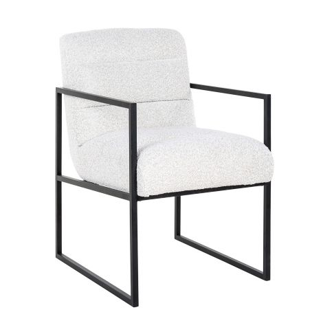 Chaise Lizzo bouclé - blanc/noir