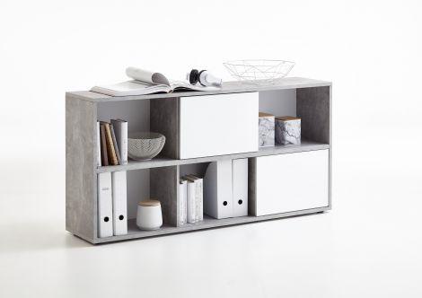 Armoire de rangement Futura 6 niches - béton/blanc brillant
