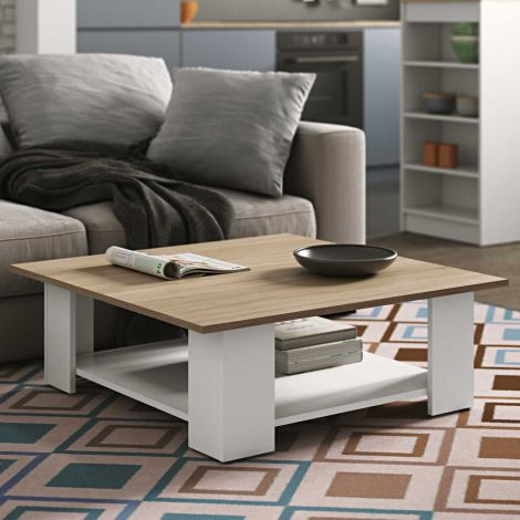 Table basse Square 67x67 - blanc/chêne
