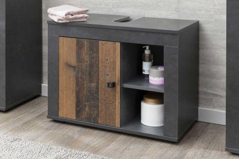 Meuble sous lavabo Rutger 1 porte - bois/graphite