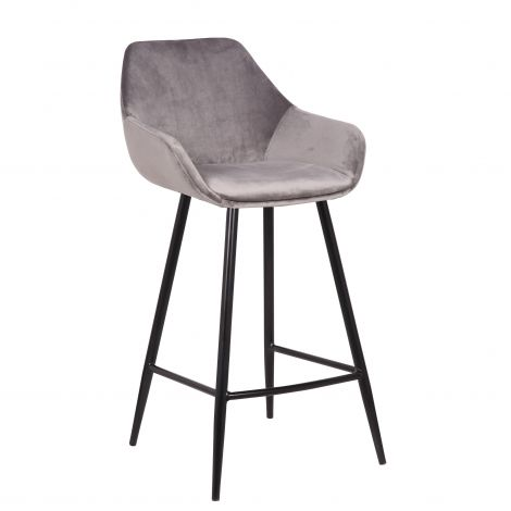 Lot de 2 chaises de bar Amman - hauteur d'assise 75 cm - gris