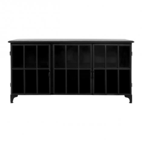 Buffet Manhattan 150cm - métal noir/verre