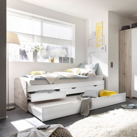 Lit banquette Nasri 90x200 avec tiroir de lit - chêne sablé/blanc