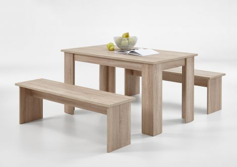 Ensemble table + 2 bancs Mundo - chêne