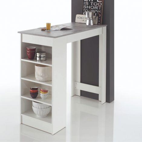 Table bar De Marchi 115cm - blanc/béton