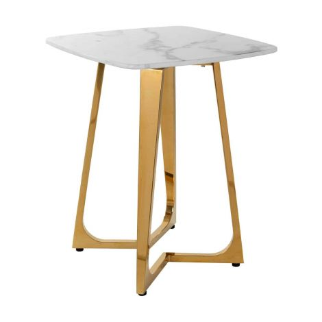 Table d'appoint Dynasty 50x50 - marbre/or