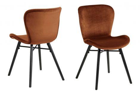 Set de 2 chaises en velours Tilda avec pieds obliques - cuivre/noir