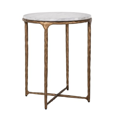 Table d'appoint Smiths ø50cm - blanc/or