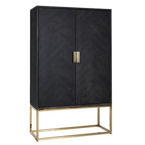 Présentoir Bony 108cm 2 portes - noir/or