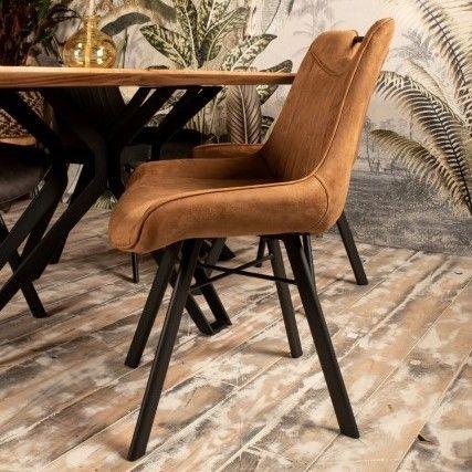 Lot de 2 chaises de salle à manger Detroit avec poignée - cognac