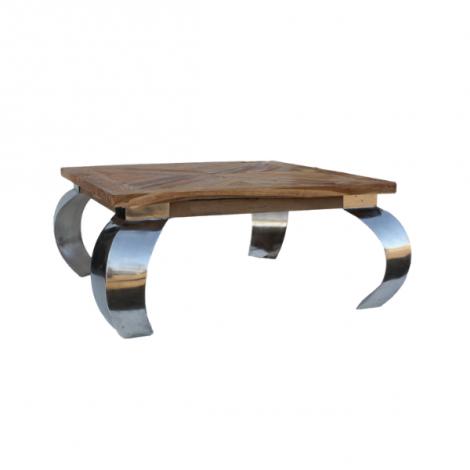 Table basse Opium 80x80cm carré - teck/acier inoxydable