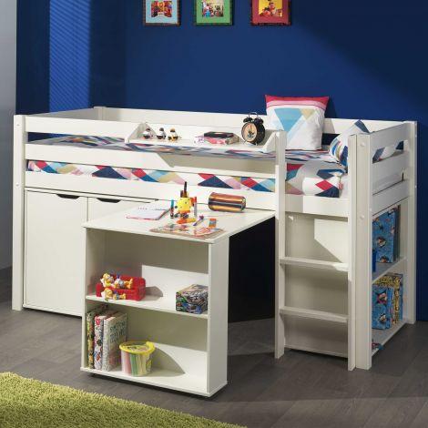 Lit mi-hauteur Charlotte avec bureau, bibliothèque et commode - blanc