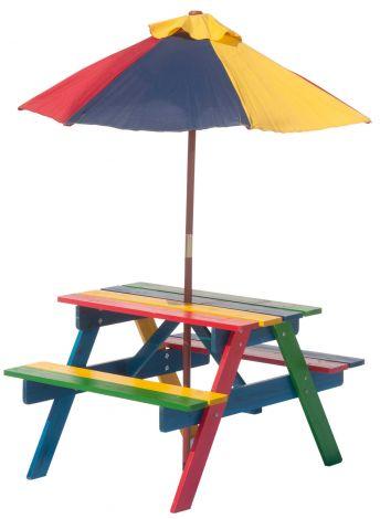 Table de pique-nique Rainbow avec parasol pour enfants