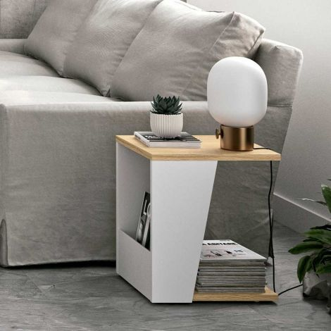 Table d'appoint Albi 40x40cm - chêne/blanc