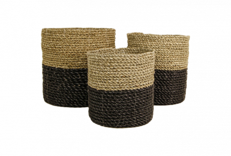 Set de paniers - raphia / grass - naturel / noir - lot de 3
