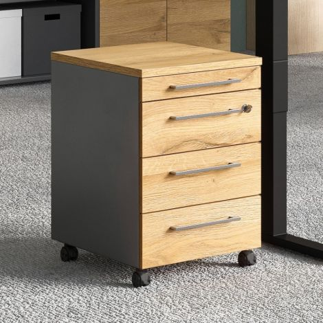 Caisson à tiroirs Osmond 4 tiroirs - chêne/graphite