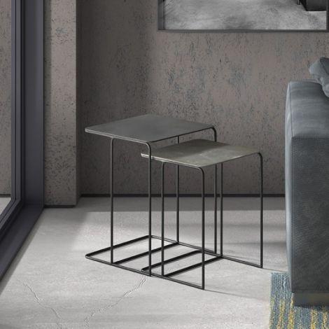 Lot de 2 tables d'appoint Ophelia - noir/gris