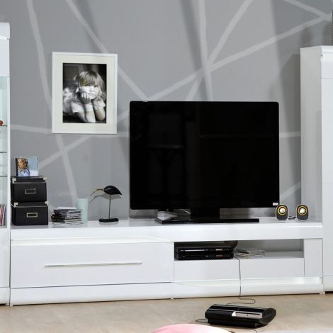 Meuble TV Ovar 200cm - blanc brillant