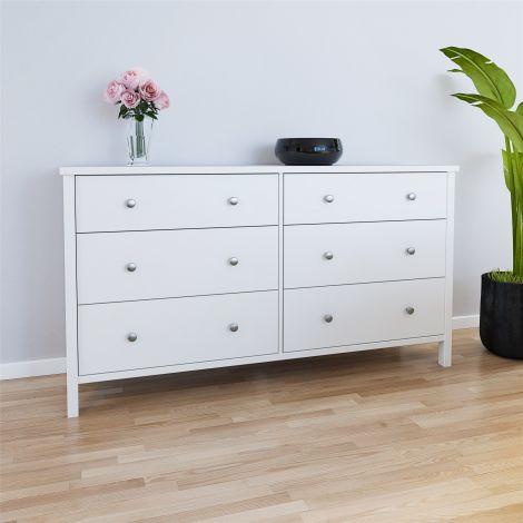 Commode Tarik 80cm à 6 tiroirs - blanc