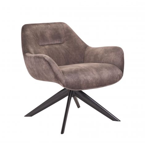 Chaise pivotante Francesca velours côtelé - taupe