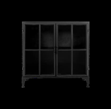 Vitrine Manhattan 90cm - métal noir/verre