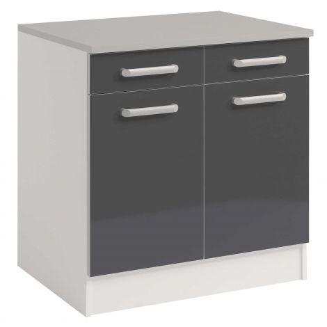 Élément bas de cuisine Gris Brillant 80 cm - 2 portes et 2 tiroirs