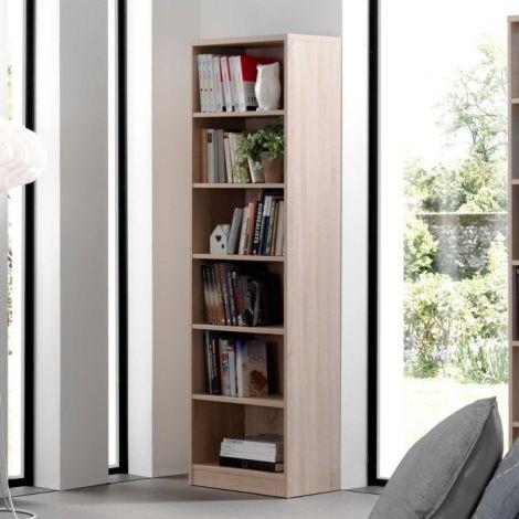 Bibliothèque Spacio 55cm à 5 tablettes - chêne sonoma