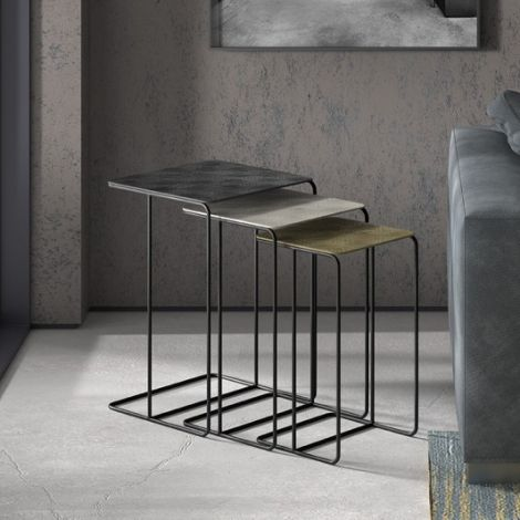 Lot de 3 tables d'appoint Codie - noir/argent/or