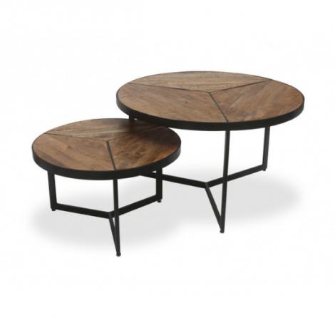 Lot de 2 tables d'appoint Arya - magnolia/noir