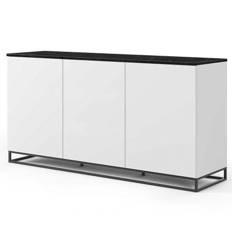 Bahut Join haut 180cm avec piètement en métal et 3 portes - blanc mat/marbre noir