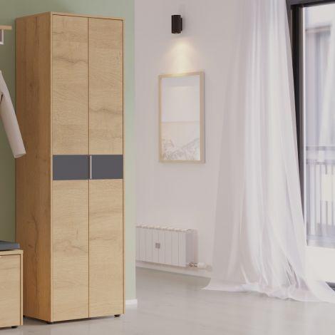 Armoire vestiaire Beck 2 portes 60 cm - chêne/graphite