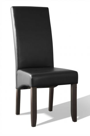 Chaise ' Valencia' PU Noir - Pieds foncés (2 par boïte)