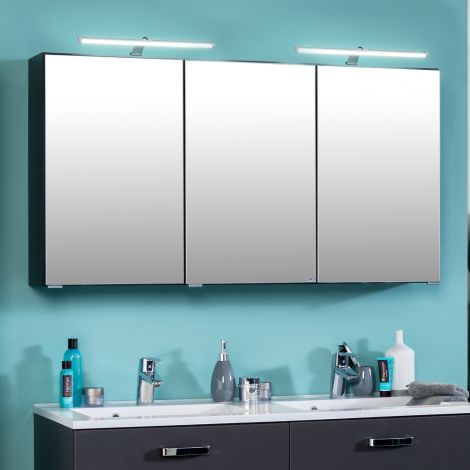 Armoire de toilette Bobbi 120cm modèle 2 3 portes & eclairage LED - graphite
