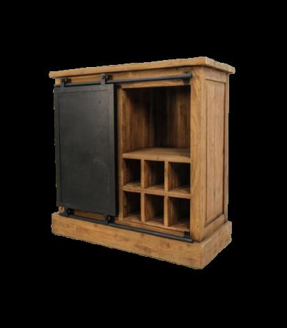 Armoire à vin Blackburn 90cm avec 1 porte - teck recyclé
