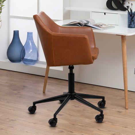 Chaise de bureau Novan similicuir - brun