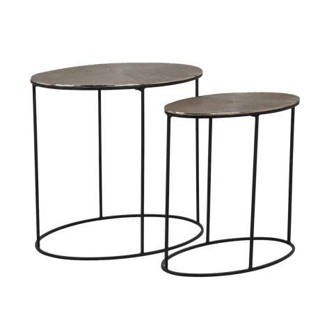 Lot de 2 tables basses Jude - or champagne/noir