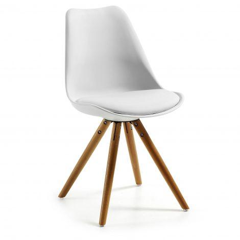 Lot de 4 chaises Ralf bois/plastique - blanc