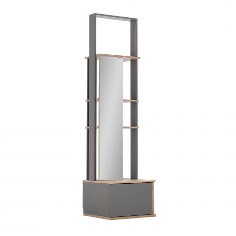 Vestiaire Birger 1 porte miroir 1 tiroir - gris