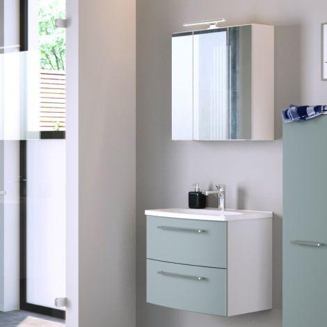 Ensemble salle de bains Gene 3 60cm - blanc/vert fjord