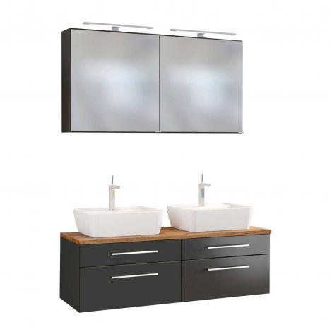 Set meuble lavabo double Dasa 120cm 4 tiroirs - graphite/gris mat